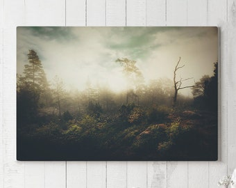 Mystic Landscape Canvas Art, nature wall decor, dreamy canvas art, ready to hang art, foggy forest canvas print