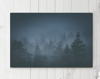 Living Room Canvas Art, forest bedroom wall hanging and wall art, foggy woodland wall decor, trees canvas art, ready to hang office art