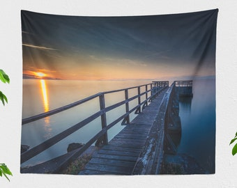 Nautical Wall Tapestry, ocean sunset tapestry, large wall art and wall decor, nature dorm and bedroom decor and living room decor,