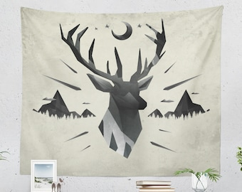 Wanderlust Deer Tapestry, nature art tapestry, adventure wall decor making a unique dorm and bedroom decor and living room decor statement.