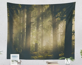 Magical Woods Wall Tapestry, forest tapestry, nature dorm and bedroom and living room decor making a dreamy wall decor statement.