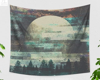 Moon Child Tapestry, abstract tapestry and large wall art, dorm and bedroom decor and boho living room decor making a trendy statement.