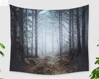 Foggy Forest Tapestry, nature wall tapestry, dreamy dorm and bedroom and living room wall decor making a statement.