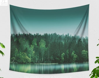 Green Forest Tapestry, beautiful woods wall hanging, large dorm and bedroom wall decor, boho living room wall art with wanderlust feeling