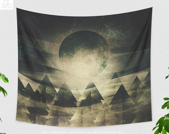 Moon Child Tapestry, abstract nature wall hanging, artsy dorm and bedroom wall decor, large living room wall art
