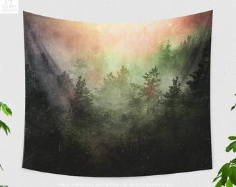 Colorful Forest Wall Tapestry, dorm nature art wall hanging, large wanderlust living room wall art, bedroom woodland wall decor.
