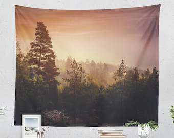 Magical Nature Tapestry, forest wall tapestry, colorful wanderlust wall decor making a unique dorm and bedroom and home decor statement.