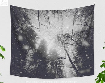 Forest Art Wall Tapestry, dreamy dorm wall hanging, woods living room and bedroom wall decor.
