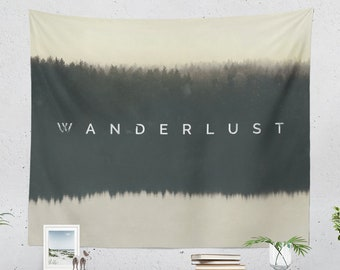 Wanderlust Wall Tapestry, minimalist tapestry, large dorm wall decor, nature adventure bedroom room and living room wall hanging and artwork