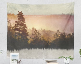 Forest Art Tapestry, nature wall tapestry, colorful and large wall decor and wall art making a wanderlust dorm and home decor statement.