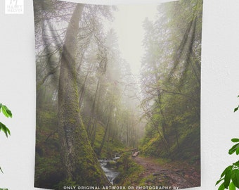 Tall Forest Wall Tapestry, woods dorm wall hanging, wanderlust bedroom wall decor, large living room wall art