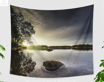 Tranquil Lake Tapestry, beautiful nature wall decor, dorm wall hanging, large landscape bedroom wall art, serene scenery wall art