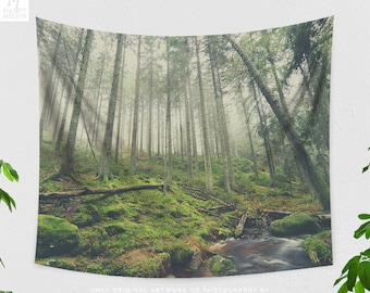 Woods Tapestry, nature tapestry, wanderlust dorm and bedroom and living room decor making a statement.