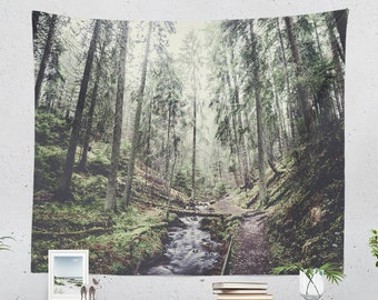 Forest Trail Tapestry, nature wall tapestry, large wanderlust wall art, dorm tapestry and woodland living room decor making a statement.