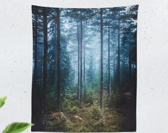 Tall Fog Forest Tapestry, dorm wall hanging, large bedrom and living room wall decor, woods and wanderlust wall art.
