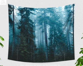 Beautiful Fog Forest Tapestry, nature dorm wall hanging, mytic woods bedroom decor, boho living room wall decor