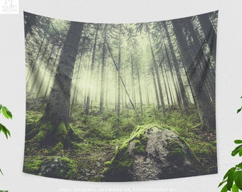 Woods Tapestry, large nature tapestry, wanderlust dorm and living room wall hanging, woodland bedroom wall decor.