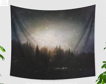 Grungy Forest Tapestry, artsy woods wall hanging, large dorm and bedroom wall decor, boho living room wall art