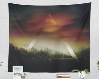 Spiritual Nature Tapestry, nature art wall tapestry, large wanderlust wall hanging and landscape living room and dorm wall decor