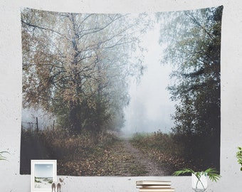 Misty Trail Tapestry, dreamy living room wall hanging, large foggy nature dorm wall decor, serene bedroom wall art