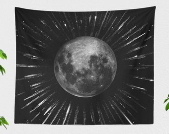 Moon Tapestry, moon child tapestry, dorm and bedroom decor and living room decor making a free spirit statement. Large wall art.