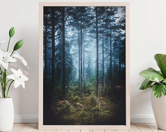Mystical Forest Print, large nature wall art and wall decor, original photo wall print for any room, tall forest scenery wall hanging.
