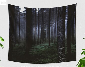 Dark Woods Tapestry, nature tapestry, large wall decor, living room wall hanging making a statement. dorm and bedroom decor.