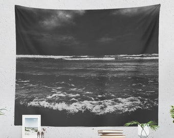 Dark Ocean Wall Tapestry, moody dorm wall decor, sea and nautical living room wall art and bedroom wall hanging.