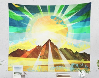 Colorful Landscape Tapestry, free spirit dorm wall tapestry, large bedroom and living room wall decor and wall art.