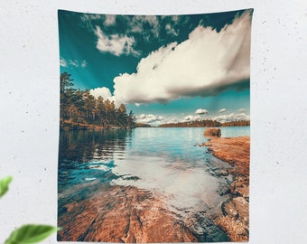 Tall Wanderlust Tapestry, pure nature wall hanging, lake dorm wall decor, free spirit living room decor, serene scenery living room decor
