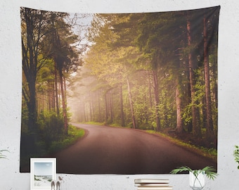Forest Road Tapestry, adventure dorm wall decor, large colorful woods wall decor, boho living room and bedroom wall art