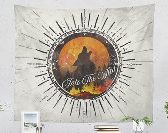 Wanderlust Wolf Wall Tapestry, nature lover wall hanging and wall decor making a unique dorm and bedroom and wall decor statement.