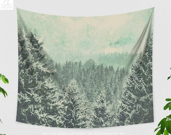 Faded Forest Tapestry, nature tapestry, large wall art and boho living room decor making a statement. dorm and bedroom decor.