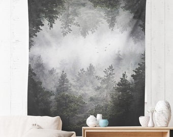Forest Art Wall Tapestry, dorm woodland wall hanging, surreal living room and bedroom wall decor and nature wall art