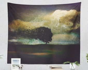 Nature Art Wall Tapestry, magical dorm and bedroom decor and living room decor making a unique statement. Large wall art.