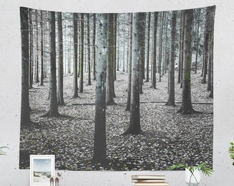Fine Art Forest Tapestry, a nature tapestry and black and white woods wall decor making a trendy dorm and bedroom and home decor statement.