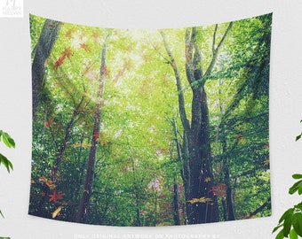 Autumn Forest Wall Tapestry, nature living room wall decor, dorm and bedroom tapestry, trees and woods wall hanging