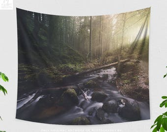 Forest Light Wall Tapestry, magical nature wall hanging, large dorm and bedroom wall decor, wanderlust living room tapestry