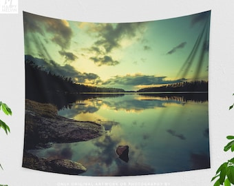 Lake Sunset Tapestry, large dorm wall decor, evening landscape bedroom wall hanging, wanderlust living room wall art