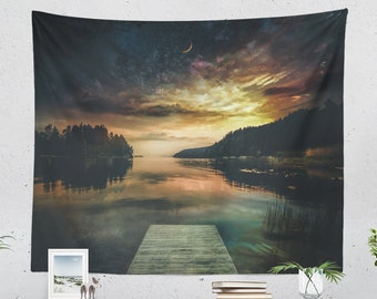 Nature Tapestry, wanderlust landscape wall hanging, large dorm wall decor, colorful  bedroom and living room wall art