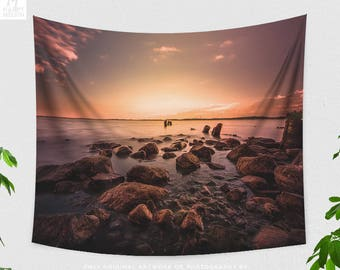 Magical Ocean Wall Tapestry, colorful osean sunset dorm and bedroom wall hanging, nautical living room wall decor.