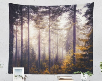 Pine Forest Tapestry, nature dorm wall decor, large woods wall hanging, colorful bedroom wall art, boho wall decor