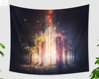 Forest Artwork Tapestry, nature tapestry, large wall art, dorm decor and boho home decor making a artsy statement.