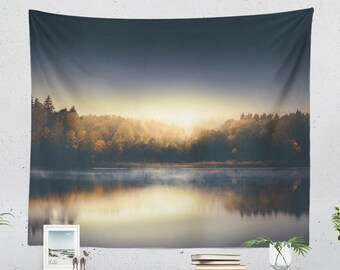 Colorful Lake Tapestry, sunset dorm wall hanging and nature wall tapestry, large living room and bedroom wanderlust home decor and wall art