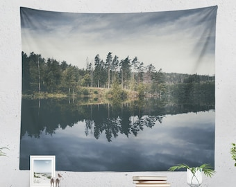 Nature Tapestry, lake wall tapestry, dorm and bedroom wall hanging, wanderlust living room wall decor and wall art