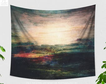 Abstract Landscape Tapestry, nature art wall hanging, large dorm and bedroom wall hanging, boho art living room wall art and wall decor