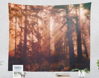 Sunshine In Forest Tapestry, enchanted woods dorm wall hanging, large calming bedroom wall decor, boho living room wall art