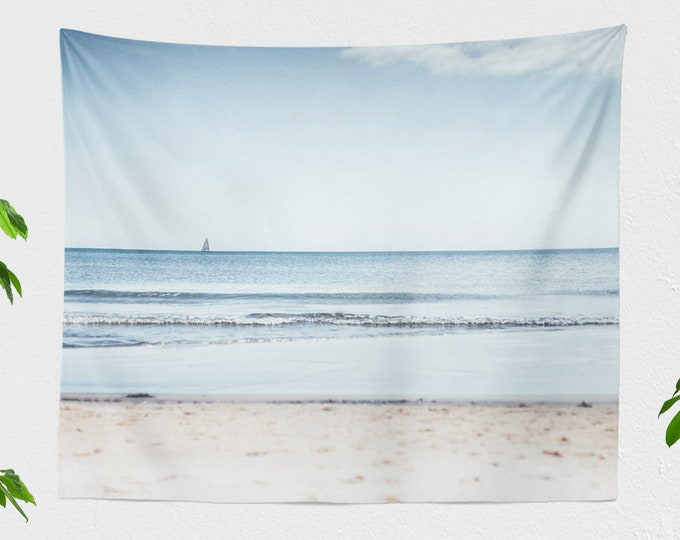 Featured listing image: Turquoise Ocean Tapestry, nautical wall tapestry, sea dorm and bedroom wall decor, large living room wall hanging