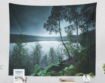 Tranquil Lake Wall Tapestry, dorm nature wall hanging, large wanderlust living room and bedroom wall decor and adventure wall art