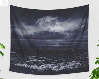 Moody Nature Wall Tapestry, fog landscape tapestry, dreamy dorm and bedroom decor and living room decor making a statement.